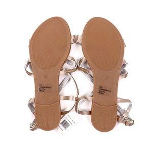 ac9132e1ff4f7 Olivia Miller Shoes - Olivia Miller Sandals Gold Adjustable Straps Flat
